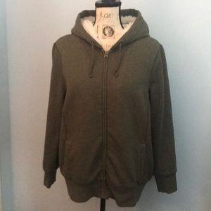 Old Navy Olive Sherpa Lined Full-Zip Hoodie